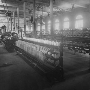 View of skein winding and spinning machines, Tompkins Hall, North Carolina State College School of Textiles.