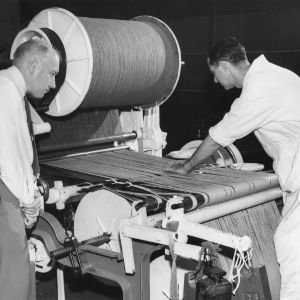 Installation of velvet carpet loom in the School of Textiles at North Carolina State College, July 1951