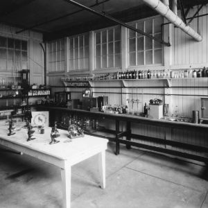 Interior view of textile chemistry laboratory, Tompkins Hall, North Carolina State College School of Textiles, ca. 1934.