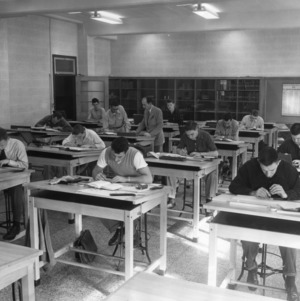Students working in the Mechanical Engineering Department's Broughton Drafting Room