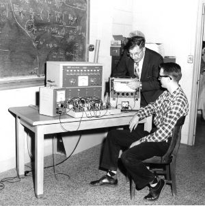 James Wallace and Dr. John Cell with Donner Analog Computer