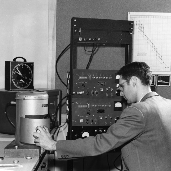 Department of Physics - test measuring radioactivity, 1955.