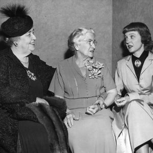 Jane S. McKimmon with actress Jane Darwell and other woman for radio dramatization of her life story