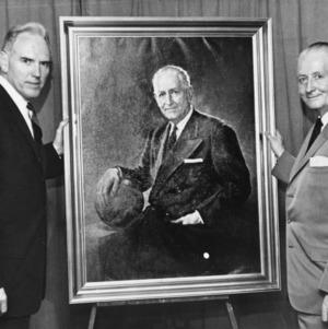Coach Everett Case with painted portrait