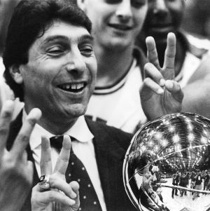 "Head Coach James ""Jim"" Valvano, Quentin Jackson, and men's basketball team"