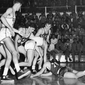 Scramble for the ball during N.C. State - Duke game, 1947