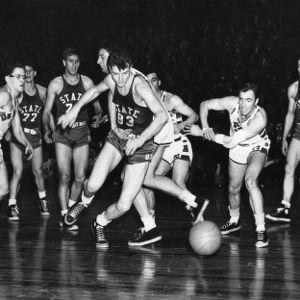 N.C. State and DePaul University vie in the National Invitational Tournament. DePaul won 75-64.
