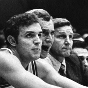 1972 N. C. State basketball players and coaches watch game from bench