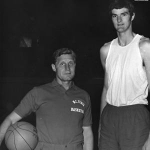 Coach Norman Sloan and Tommy Burleson, N.C. State University basketball