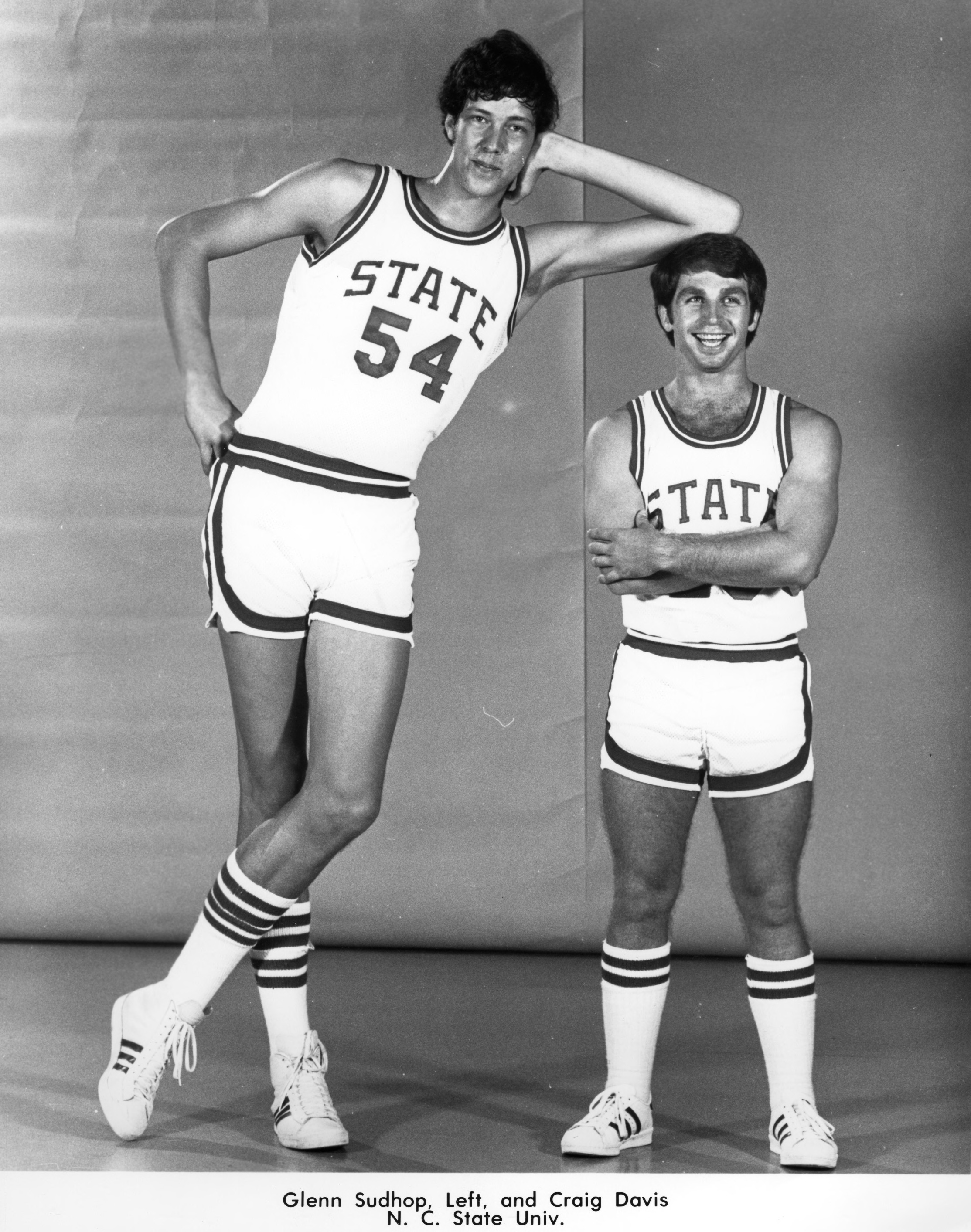 Glenn Sudhop, left, and Craig Davis, N.C. State University basketball
