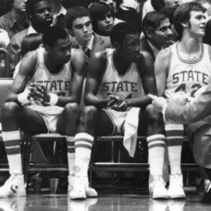 '79 team, N.C. State Univ. [on sidelines during game]