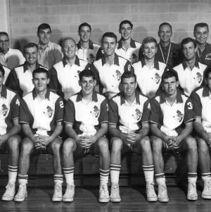 Head Coach Press Maravich and N.C. State University basketball team, 1965