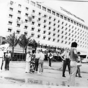 N.C State basketball team in front of Philippine Village Hotel in Davao City, Philippines
