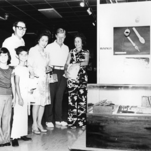 Coach Norman Sloan and friends at an exhibit on Philippines culture during N.C. State basketball team visit to the Philippines