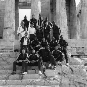 N.C. State basketball team at Parthenon in Athens, Greece, 1984