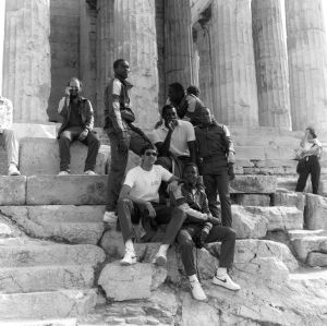N.C. State basketball team on the steps of the Parthenon in Athens, Greece, 1984