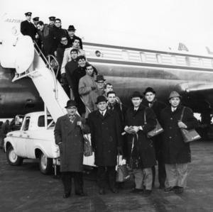 Italian basketball team arriving for visit during the 1963-1964 season