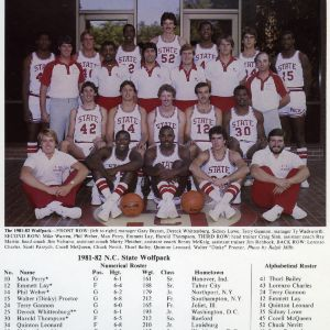1981-1982 N.C. State University Wolfpack men's basketball team  in front of Everett N. Case Athletics Center, with team roster