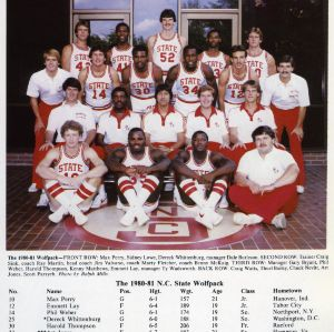 1980-1981 N.C. State University Wolfpack men's basketball team in front of Everett N. Case Athletics Center, with team roster