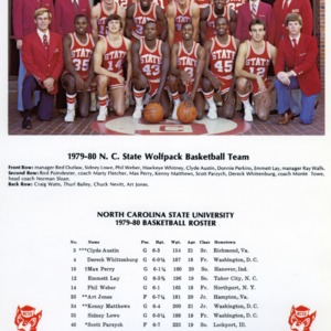 1979-1980 N.C. State University Wolfpack basketball team in front of Everett N. Case Athletics Center, with team roster