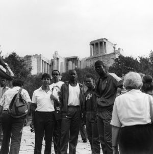 N.C. State basketball team and Coach Valvano in Greece, 1984