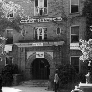 Watauga Hall with homecoming signs, 1938.