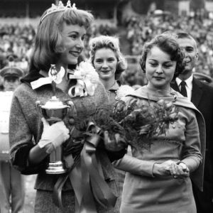 Linda Wey, first NC State College student crowned Homecoming Queen, with Betty Lou Shoffner, 1957's Queen