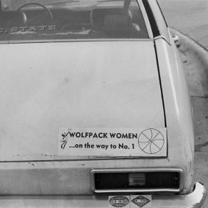 """Wolfpack Women…on the way to #1"" bumper sticker on a car"