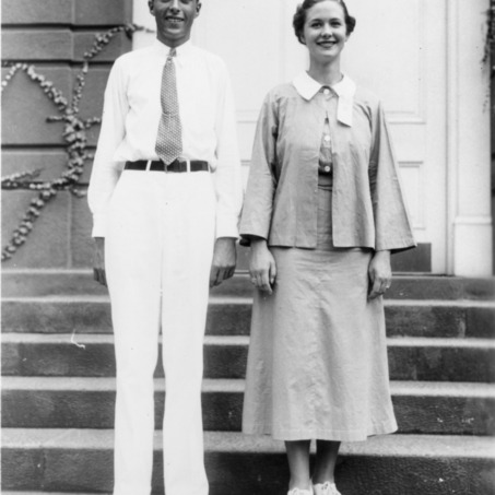 Roy Coats and Elizabeth Johnston, president and vice president of the North Carolina State 4-H Council in 1936-37, standing together on steps