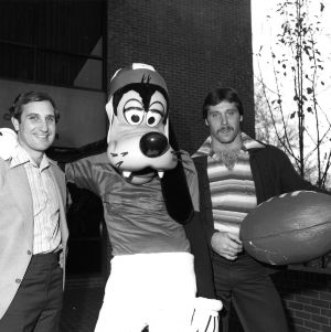 "Coach Bo Rein and All-American Jim Ritcher with ""Goofy"""