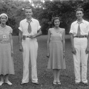 1932 North Carolina State 4-H Council officers standing at North Carolina State 4-H Short Course