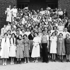 4-H club members standing at their meeting facility at Four Oaks, Johnston County, North Carolina