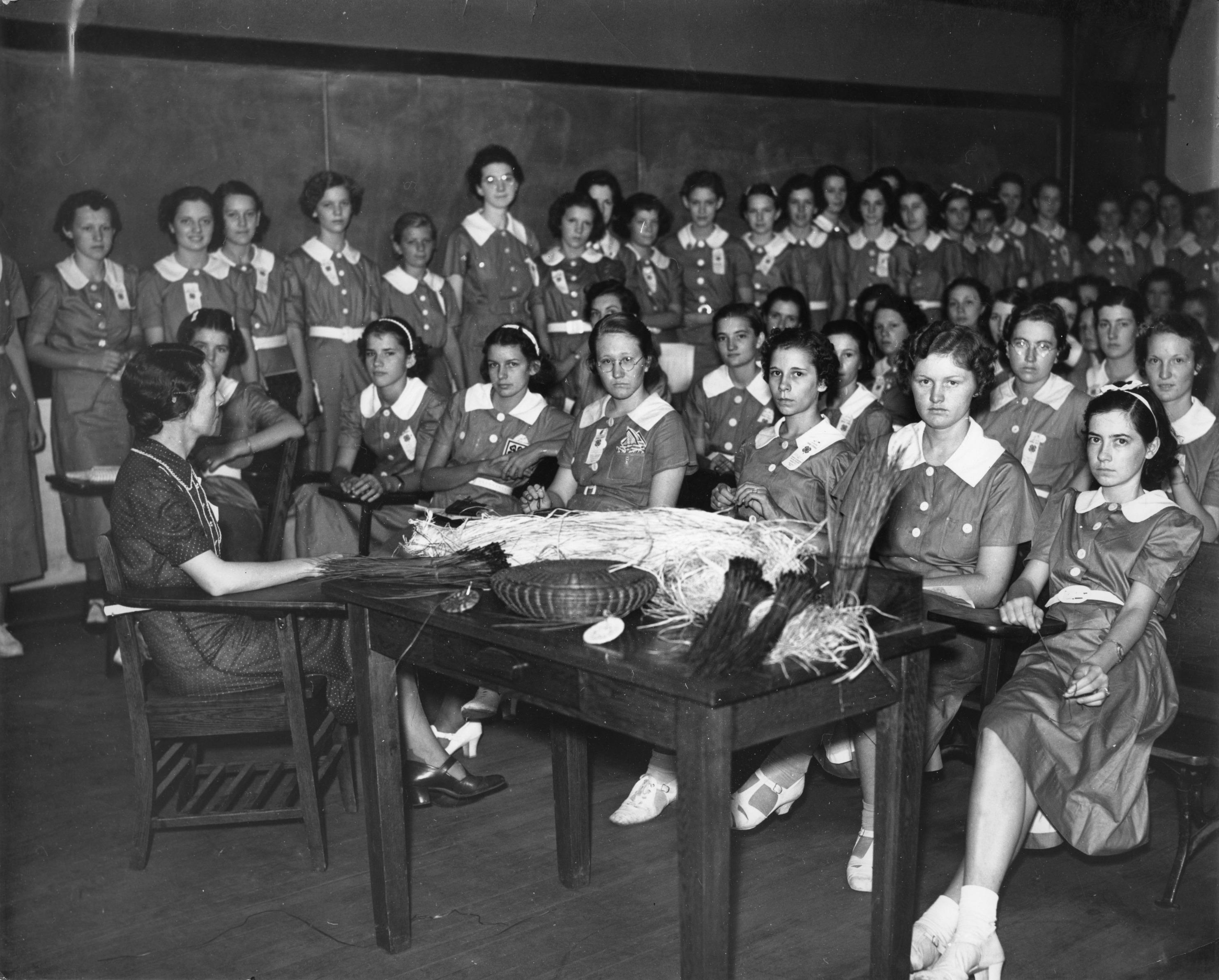 Basket Weaving North Carolina : H club members attending a basket weaving class at north