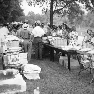4-H club members attending a picnic while at North Carolina State 4-H Club Week