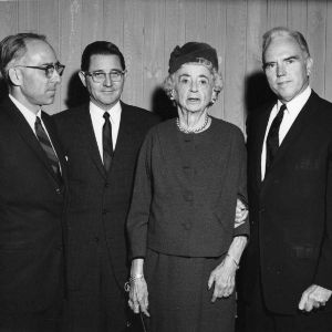 Jacob West, President William C. Friday, Mrs. Penn, and Chancellor John T. Caldwell at a 4-H ceremony