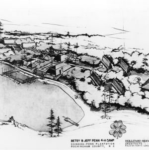 Aerial drawing of the Betsy & Jeff Penn 4-H Educational Center facilities