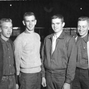 4-H club livestock judging team in Rowan County, North Carolina. From left to right, Eddie Teeter, John Coble, Frank Coble and Murray [Corrher?]