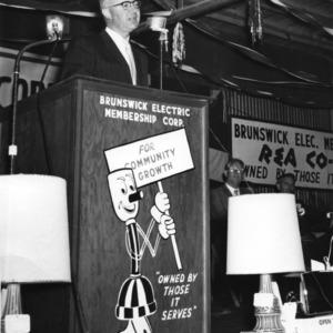 H. Brooks James speaking at Brunswick Electric Membership Corporation event