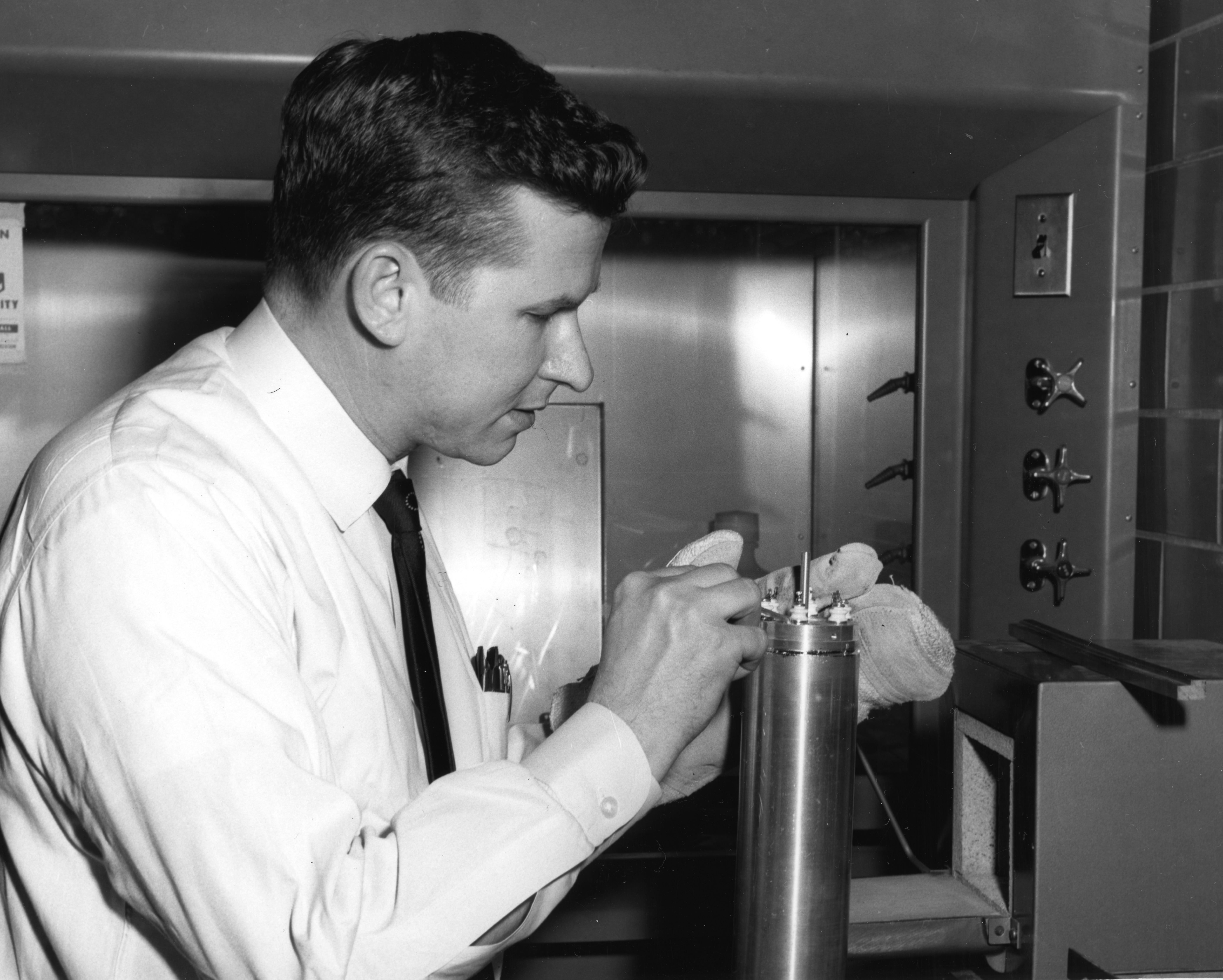 Dr. Harold A. Lamonds in nuclear engineering lab
