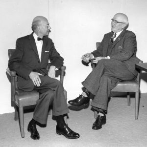 Professor Edward M. Schoenborn and Dean J. Harold Lampe at the DuPont Corporation