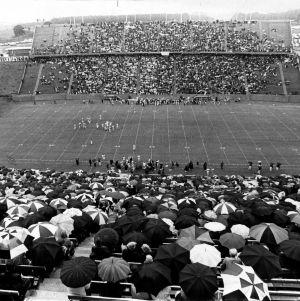 Rainy football game at Carter-Finley Stadium