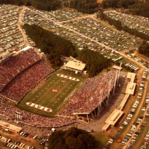 Aerial view of Carter-Finley stadium during a football game