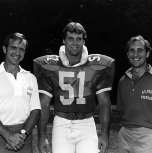 N. C. State Chancellor Joan Thomas, all-American football player Jim Ritcher, and football coach Bo Rein