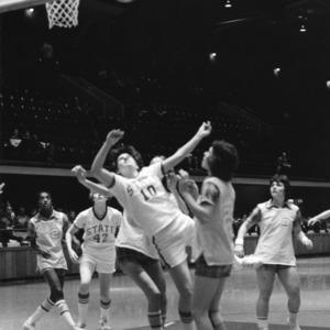 N.C. State's #10 Sherri Pickard under aggressive guard under the basket