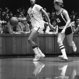 N.C. State's #22 Trudi Lacey in action against UCLA during 1977-1978 season