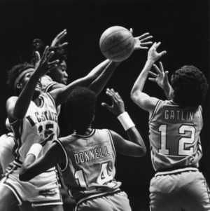 N.C. State's #15 Trena Trice fights for a rebound
