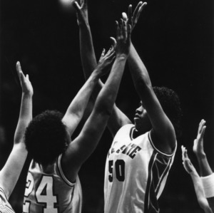 N.C. State's #50, freshman center, Sharon Manning in a game against Clemson