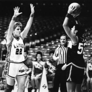 N.C. State's #22 Krista Kilburn on defense  during women's basketball game