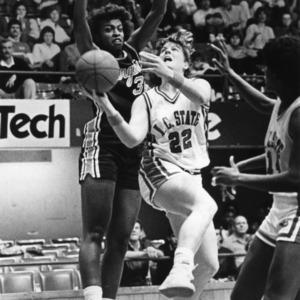 N.C. State's #22 Krista Kilburn and #14 Angela Daye during women's basketball game