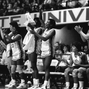 N.C. States women's basketball team on sidelines